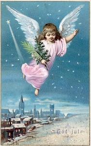 Julängel gammalt vykort
