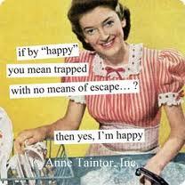 Lycklig hemmafru fången