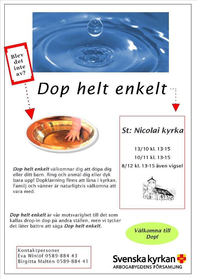 välkommen till eller på dop