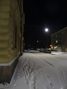 Snö på Östra Nygatan i Arboga 10 jan 2015