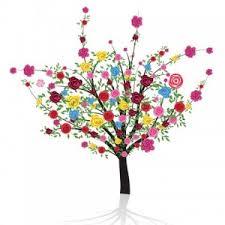 Blommande kreativt träd